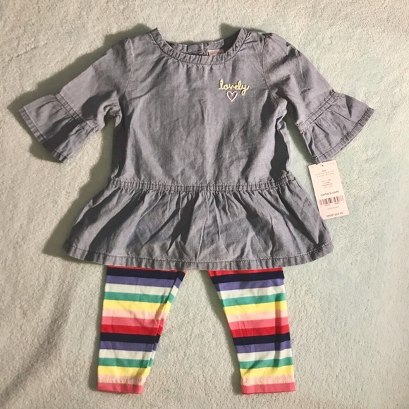 eade265fb12 Carter's Matching Sets | Carters 2pc Chambray Top Striped Leggings ...